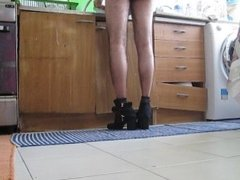 Cleaning my owner's kitchen Wearing your shoes and your sexy panties