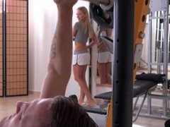 Hot blonde gets fucked by her personal trainer