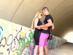 MyFirstPublic - Horny blonde caught on the street & fucked in tunnel