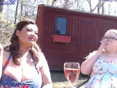 Sexy BBW Sit outside In the sun drinking wine and smoking