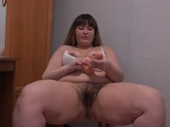 Sympathetic young bbw with hairy pussy and her favorite dildo