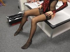 Elsa In Pleaser Adore 3000 Thigh High Boots Nylon Stockings
