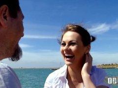 Fucking with british pornstar Tina KAY on a public beach