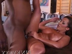White milf slams a black cock