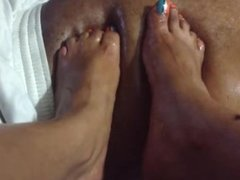 Oily belly massage by ebony feet and toes (Part 2)