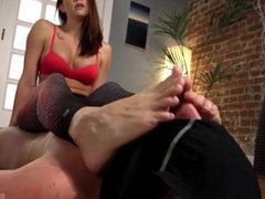 Feet sniffing and smother at yoga class