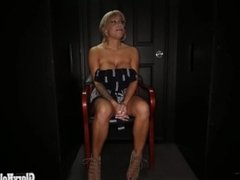 Blonde Milf love sucking off strangers in a random gloryhole