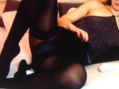 My Mistress in black stockings, one tan pantyhose and than one black on top