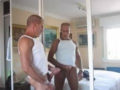 mature daddy jerks off in front of mirror
