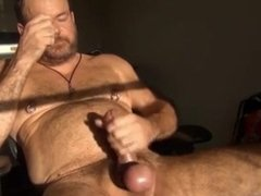 daddy bear jerks off in the sunlight