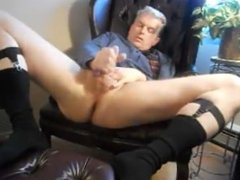 mature suited dad strips and jerks off