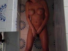 HOT AMATEUR WIFE CUMS IN SHOWER FUCKING STIFF BLACK DILDO 2 CAM VIEW