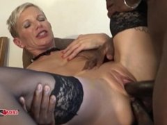 French MILF Mia Wallace hard interracial double anal and DP IV012