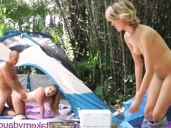 Daddy-Daughter orgy while camping