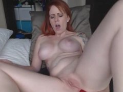 Hot Red head on cam with foot sucking