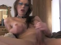 Gorgeous shemale playing with her cock