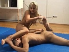 Fitness woman kicks his ass then demands him to lick her pussy til she cums