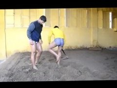Indian Wrestler's Nude Pantless Digging At Akhara