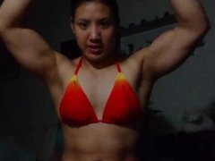 Asian Young FBB flex red bikini