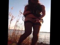 Jerking Off & Cumming Outside in Stockings Panties Garterbelt
