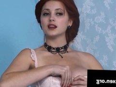 Lucy V Vixen washing her big natural boobs