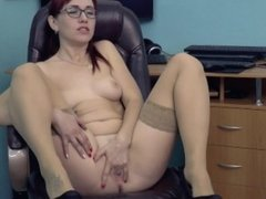 Lustful girl satisfies herself with a sex machine