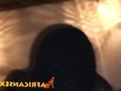 Shaved head ebony babe riding fat white cock
