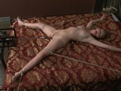 Marie McCray tied to bed and fucked by sex machine