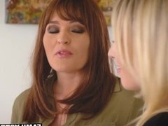 MILF babe seduces her amazing lesbian stepdaughter