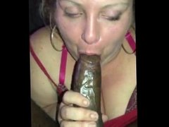 Sexy thick white girl gives bbc bj