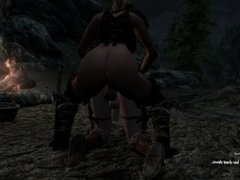 Hunter getting some dragonborn ass, back view