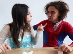 Frozen Elsa with big Tits and Spiderman choke on marshmallows.