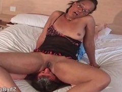 Chubby ebony in glasses facesits and gets pussy and asshole licked out