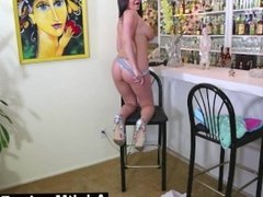 AdultMemberZone – Rachele's masturbating her pussy at the hostel's bar