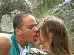 French teens fuck in forest with cumshot