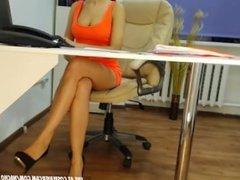 secretary in tight orange dress getting caught on