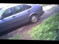 ...caught uncut man wank in car