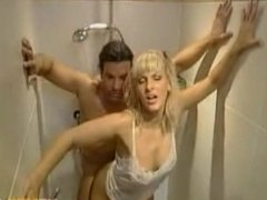 Blonde doggystyle in the shower