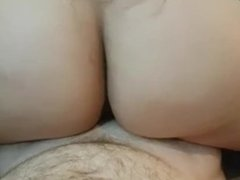 THICK ASS REVERSE COWGIRL RIDE BY SEXY BRUNETTE, HUMPS COCK UNTIL CREAMPIE