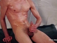 Oiled masturbation and cum shot solo boy