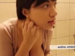 Public bathroom squirt by brunette. Amazing webcam show. Very hot teen