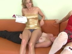 Lesbian two on one Footworship, Face and Bodysitting