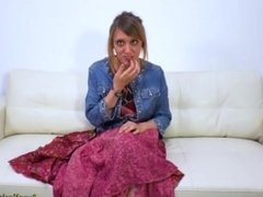 Amateur audition with Mystick Moons giving a blowjob for a facial