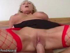 Busty British blonde MILF rides Pascal Whites cock