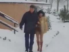 Italian woman in fur coat give a blowjob in the snow