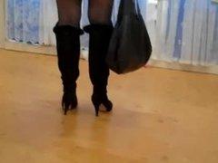 Slut Out in Red Tartan Miniskirt, Black stockings shopping