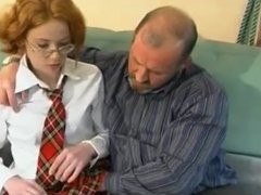 shy ginger school girl gets a lesson