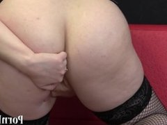 Brunette with a hairy pussy fingering her holes. HD