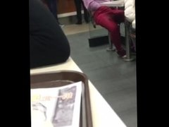 Hypnotized Chinese girl stimulate herself inside fast food restaurant