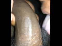 Black girl sucking black dick at park in the back of car